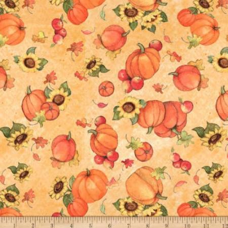 Harvest Pumpkin and Sunflower Fall Cotton Fabric  44 inches wide