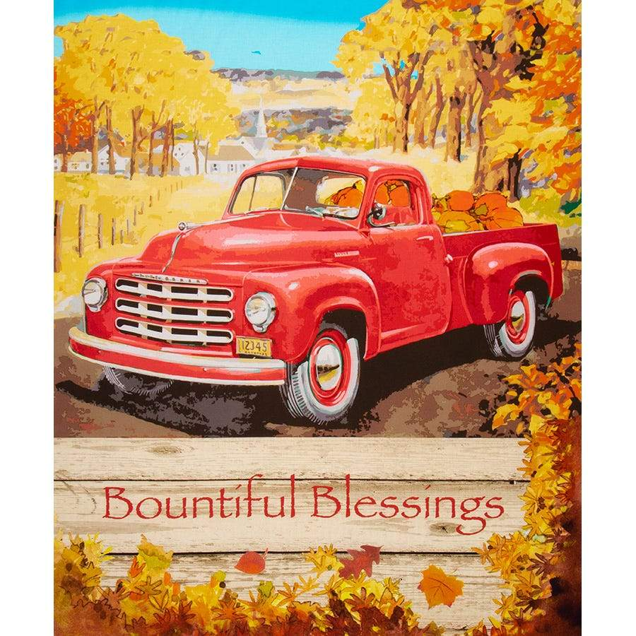 Harvest Red Truck Bountiful Blessings Quilt Panel 35 x 42 Inches