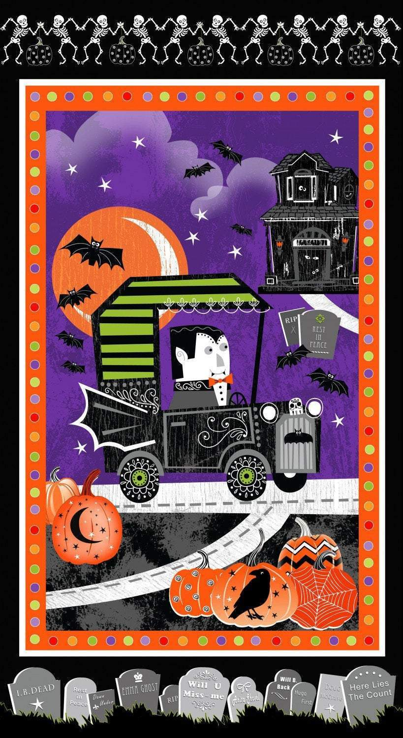 Henry Glass Fangtastic Halloween Glow In The Dark Fabric Panel 24 x 44