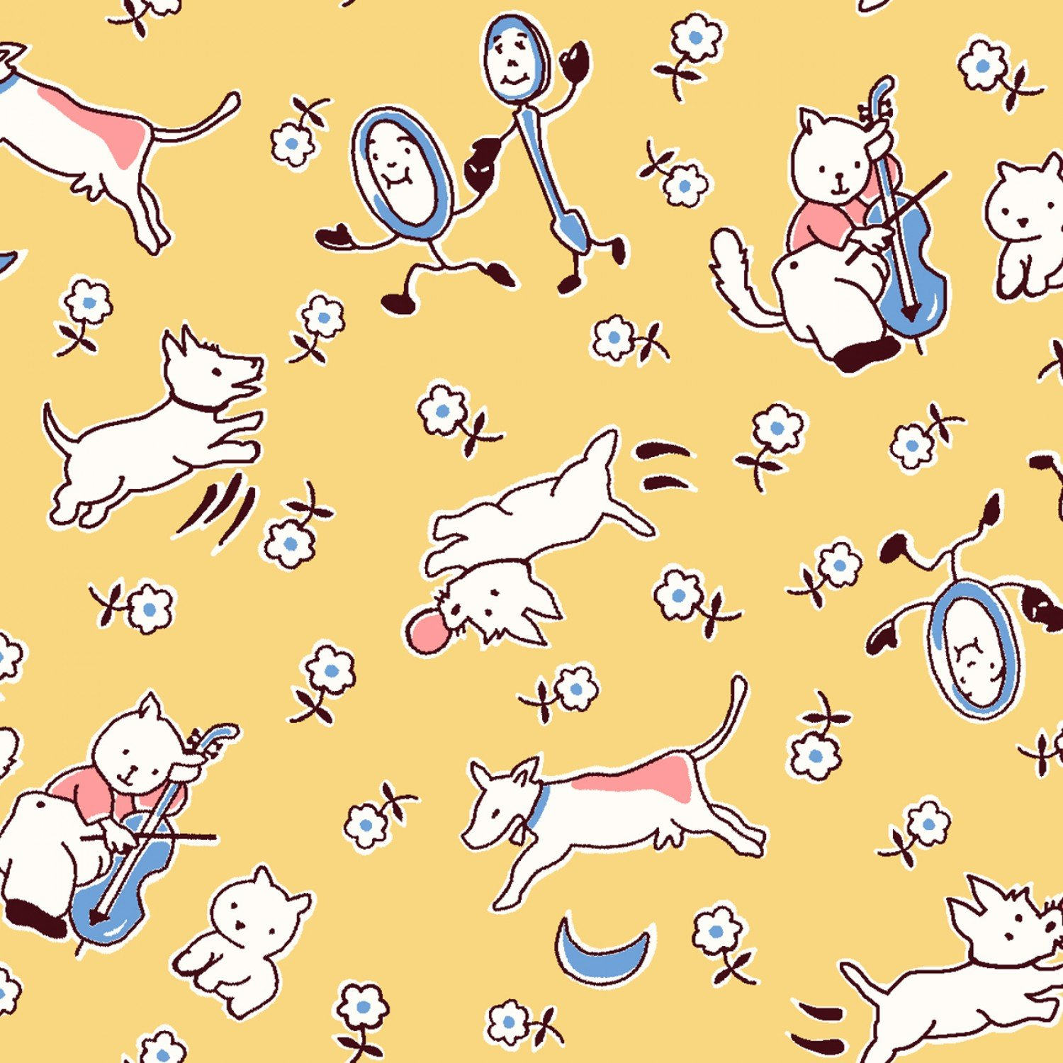 Hey Diddle Diddle Nursery Rhymes Children's Fabric