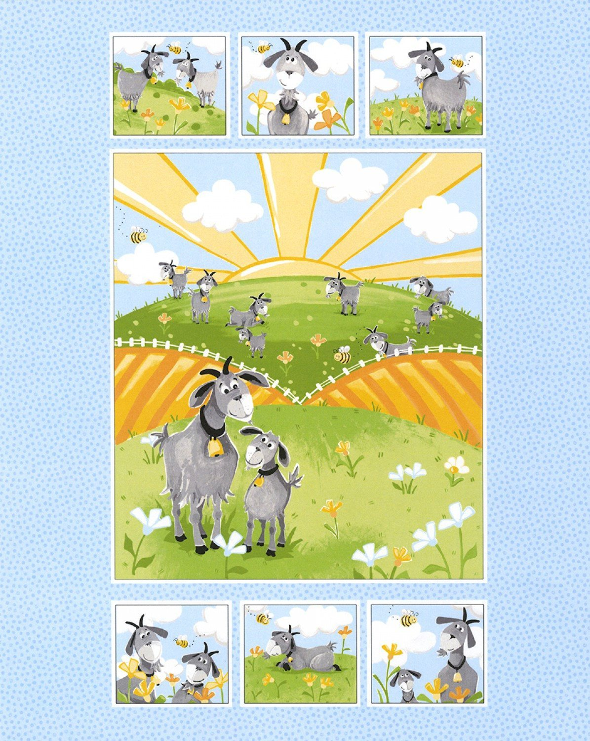HILDY THE GOAT Fabric Panel From Susybee Collections 36 x 44 inches