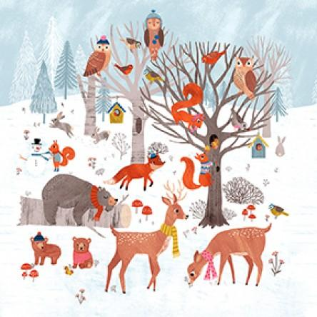 White Dreaming of Snow Holiday Fabric Panel 22in x 24in