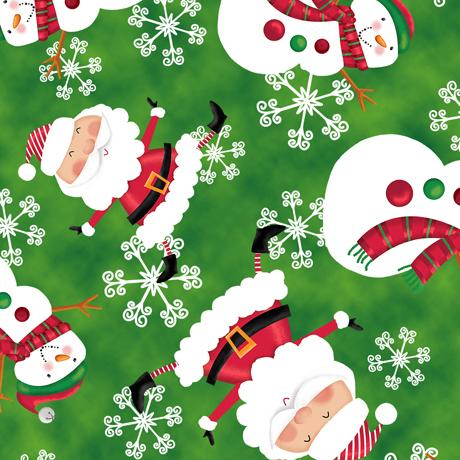 HOLLY JOLLY SANTA FABRIC Quilting Treasures 44 Inches Wide