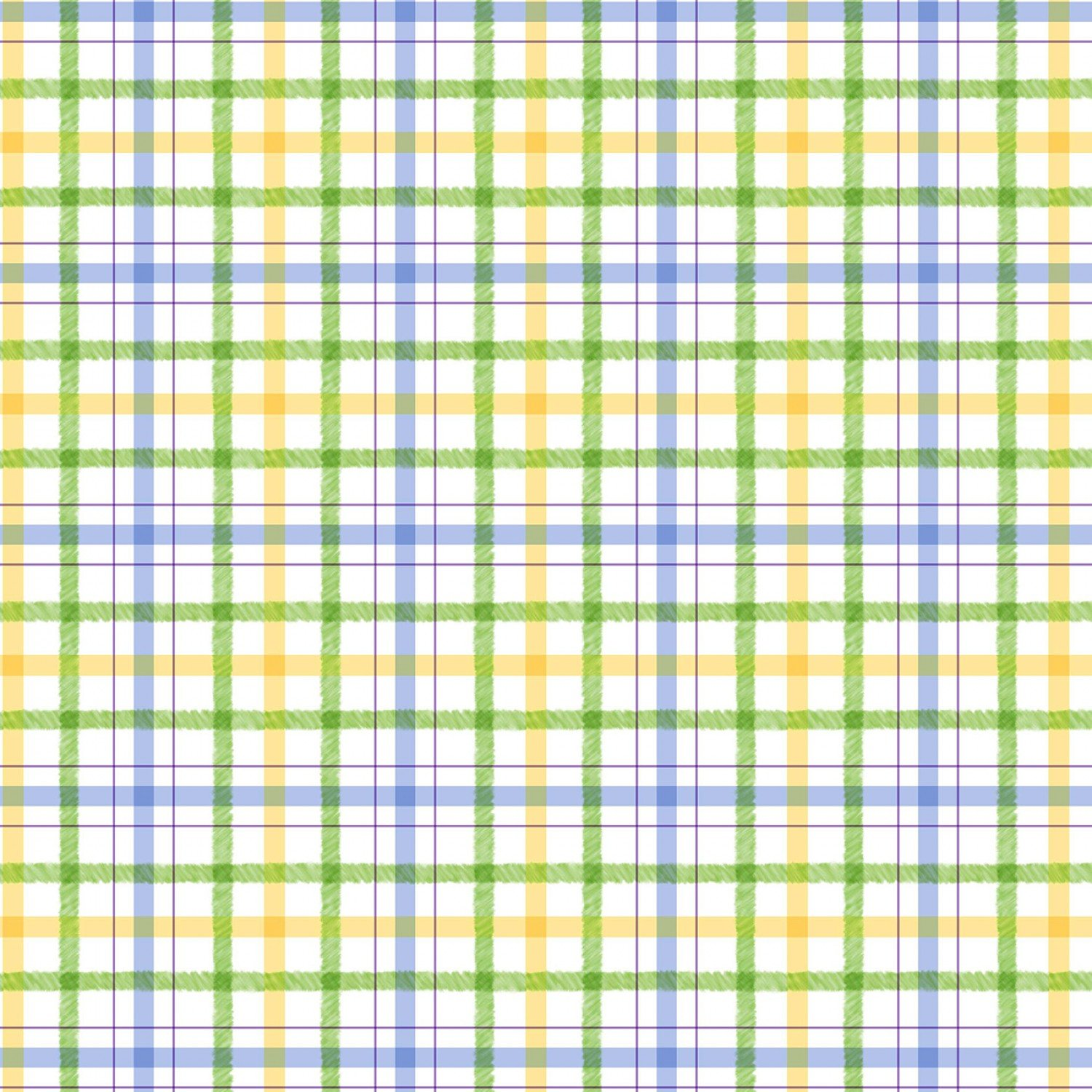 Honey Bunny Children's Green Plaid Play Cotton Fabric from Michael Miller