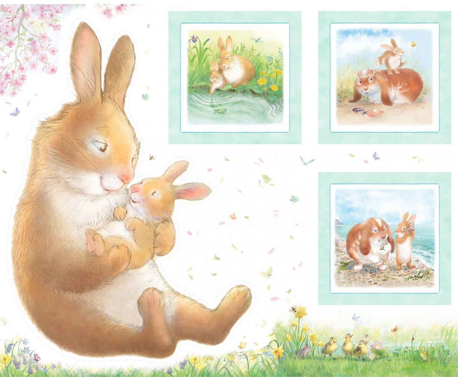 Hug A Bunny Children's Fabric Panel from Michael Miller 36x44 inches