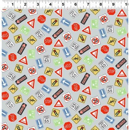 Keep On Truck'n Children's Fabric Yardage Multi Road Signs