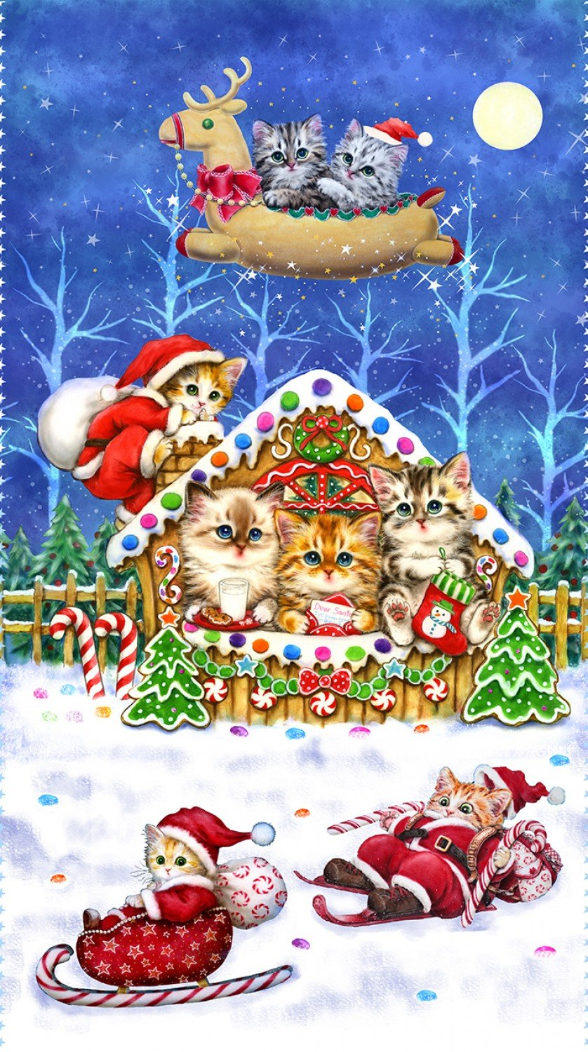 Kitten Christmas Holiday Theme Fabric Panel Digitally Printed Cotton Pre-Order
