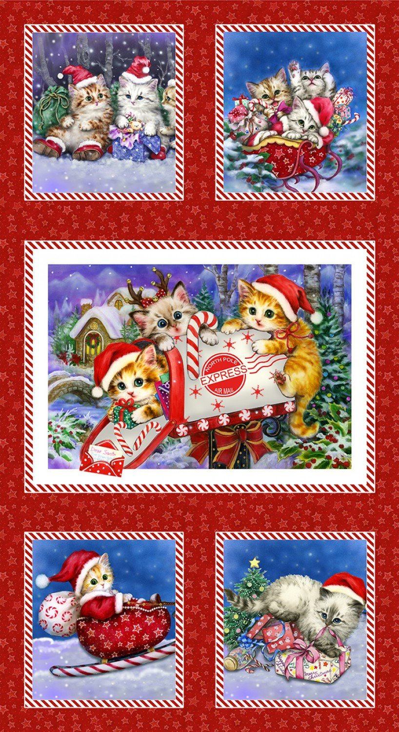 Kitten Christmas Red Holiday Theme Digitally Printed Fabric Panel