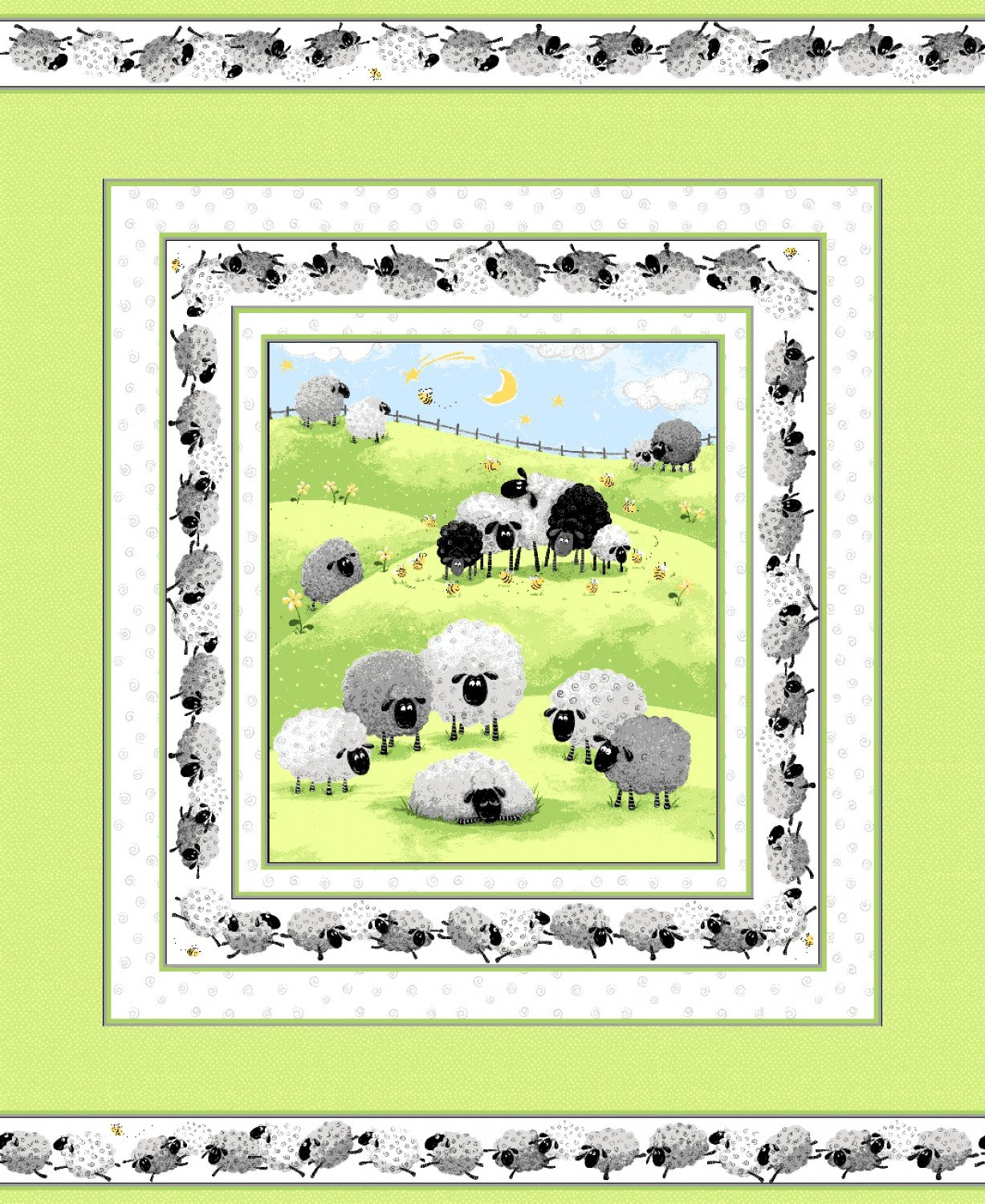 Lewe The Ewe Fabric Panel From Susybee Collection36 x 44 inches