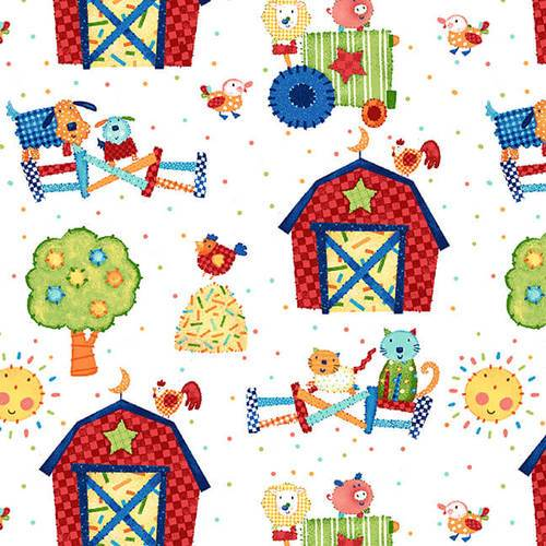 Little Red Barn Children's Farm Fabric 44 Inches Wide