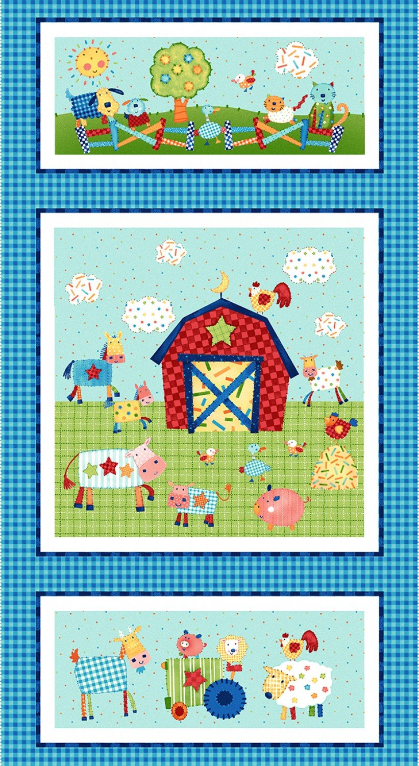 Little Red Barn Children's Farm Fabric Panels 24 x 44 Inches