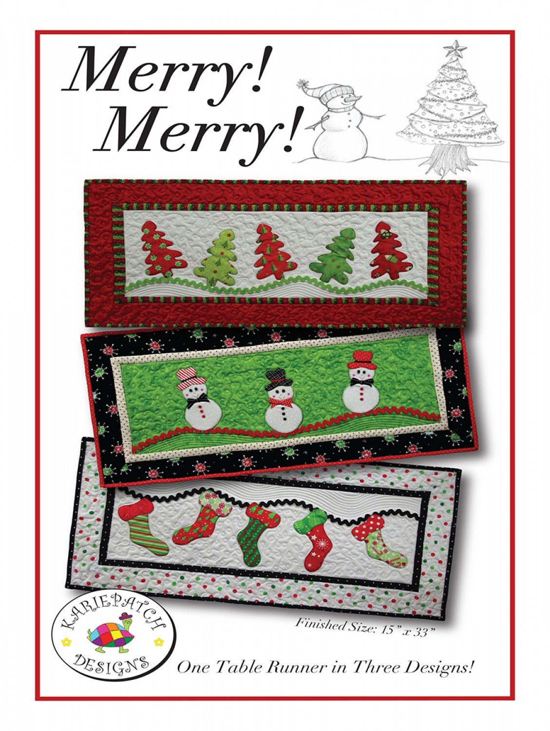 Merry Merry Christmas Table Runner Quilt Patterns by Karie Patch
