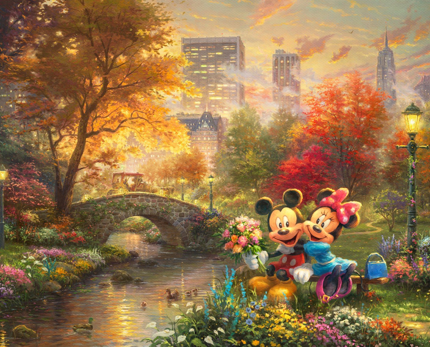 Mickey and Minnie Children's Fabric Panel Disney Dreams In Central Park 36 x 44 Inches