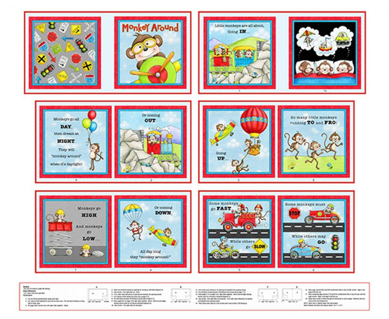 Monkey Around Children's Cloth Book Panel To Sew