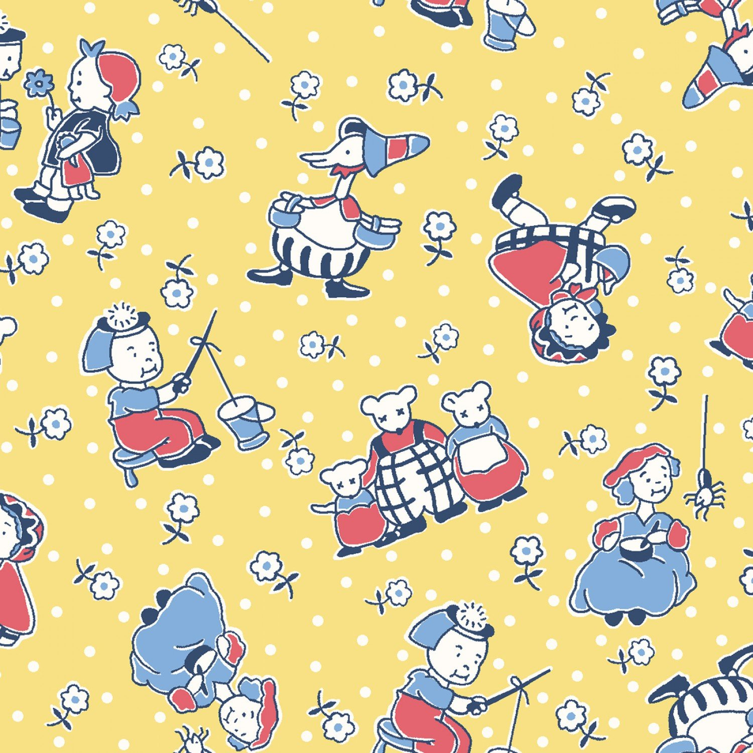 Mother Goose Nursery Rhymes Children's Fabric from Story Time Fabric Collection