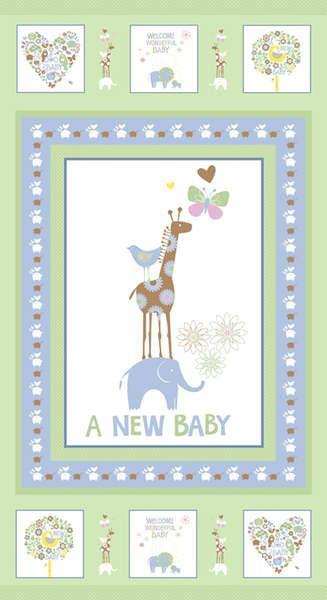 New Baby Flannel Children's Fabric Panels by Fresh Designs 23 x 43