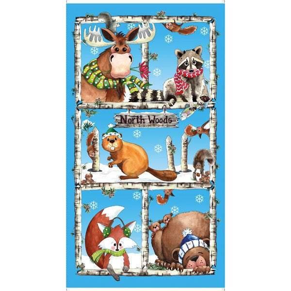 NORTHWOODS NEIGHBORS FABRIC QUILT PANEL Children's Cotton 24 x 44