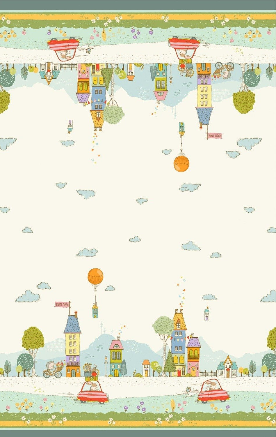 Off On A Trip Children's Fabric Double Border Yardage