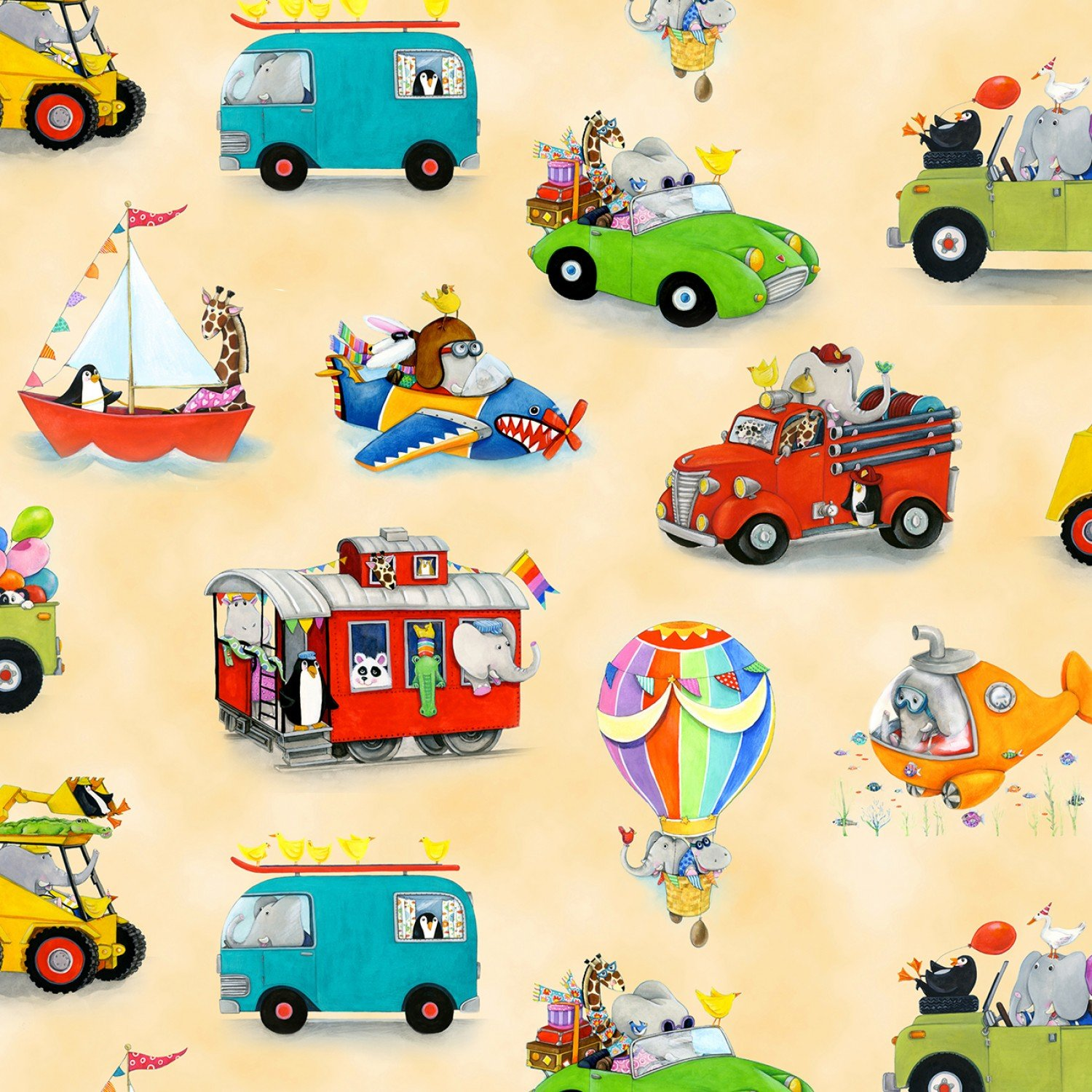 On The Go Children's Cotton Fabric Yardage 44-45 Inches Wide