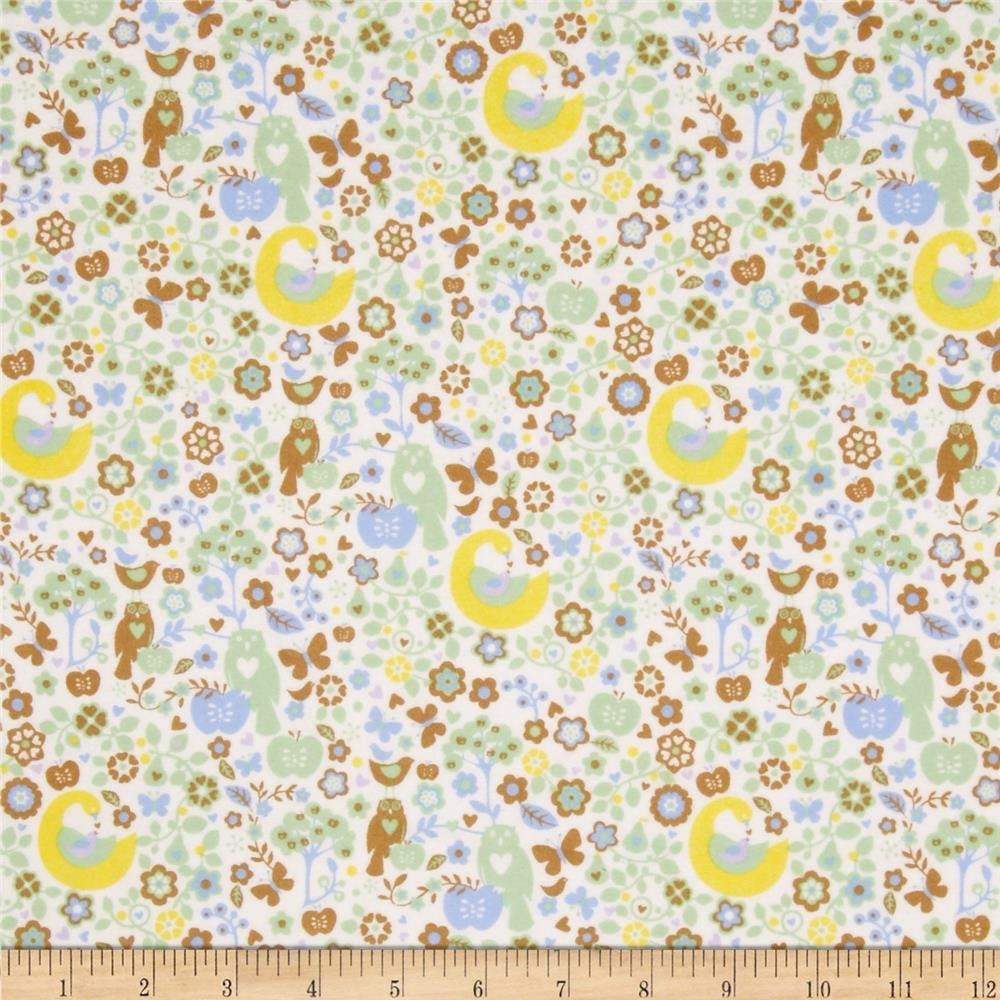 Ooo Baby Cotton Flannel Green Owls and Apples by Fresh Design for Henry Glass and Co.