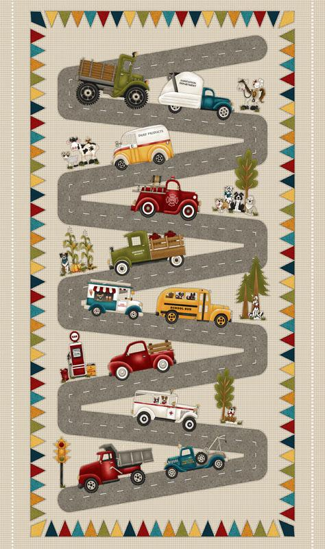 Papa's Old Truck, Banner Activity Children's Fabric Panels