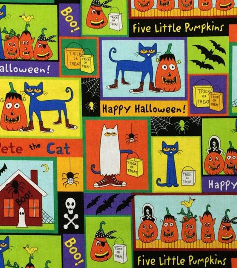 Pete The Cat Halloween Patch Children's Halloween Cotton Fabric 44 Inches Wide