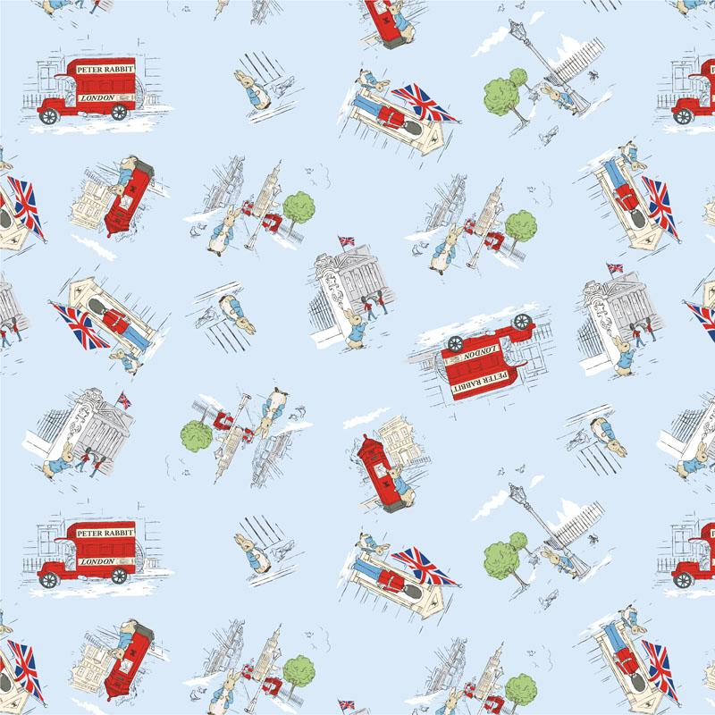 Peter Rabbit Children's Fabric Digitally Printed London Scene Cotton