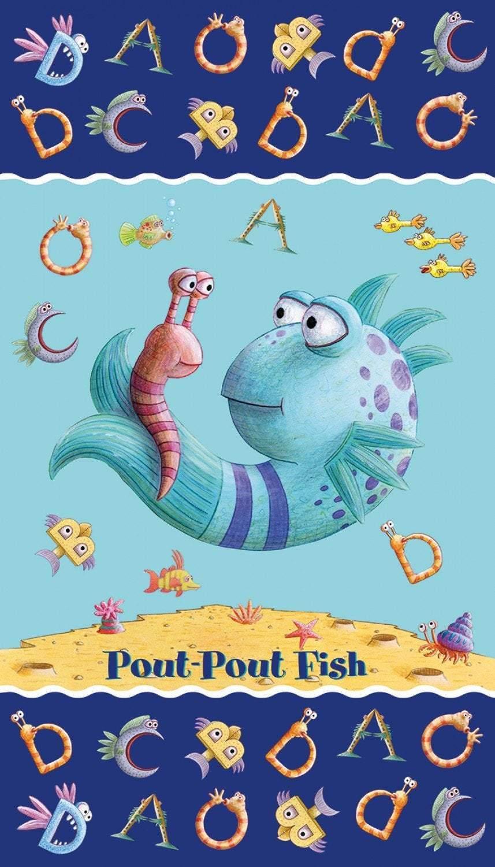 POUT POUT FISH, Children's Cotton Cloth Panel by Riley Blake 24 x 42 Inches