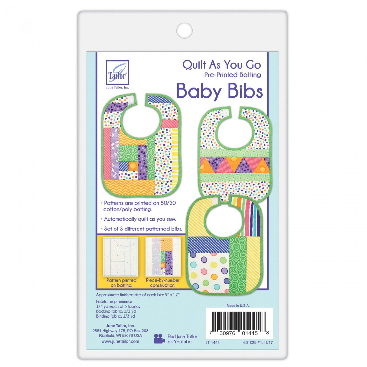 Quilt As You Go Baby Bib Patterns by June Tailor
