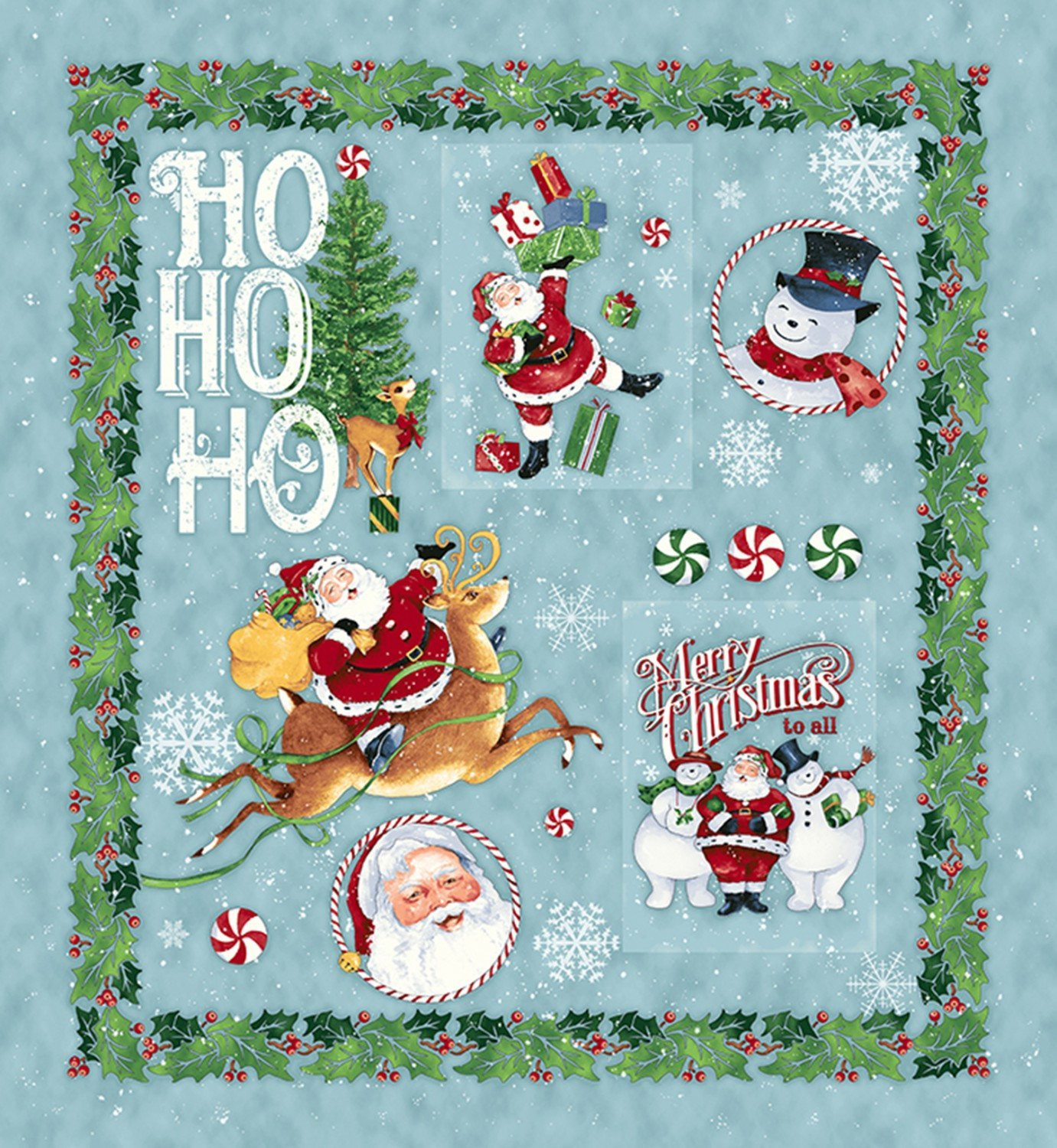 Retro Santa Christmas Holiday Cotton Fabric Panel 27 x 45 Inches