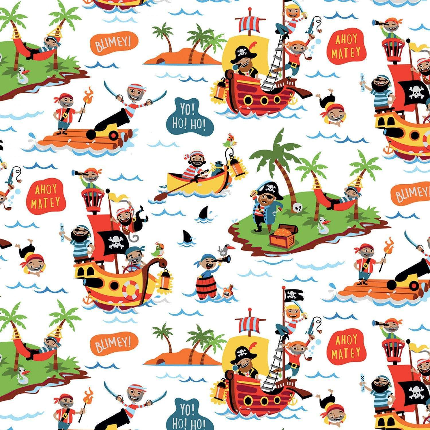 RILEY BLAKE PIRATE'S  Life Children's Cotton Flannel Fabric Collection Main on White 44 Inches Wide