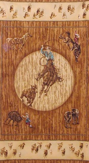 Rodeo Roundup Western Cotton Quilt Panel 24 x 44 Inches