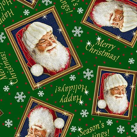 Santa's List Christmas Holiday Fabric Green Framed Santa 44-45 Inches Wide Cotton