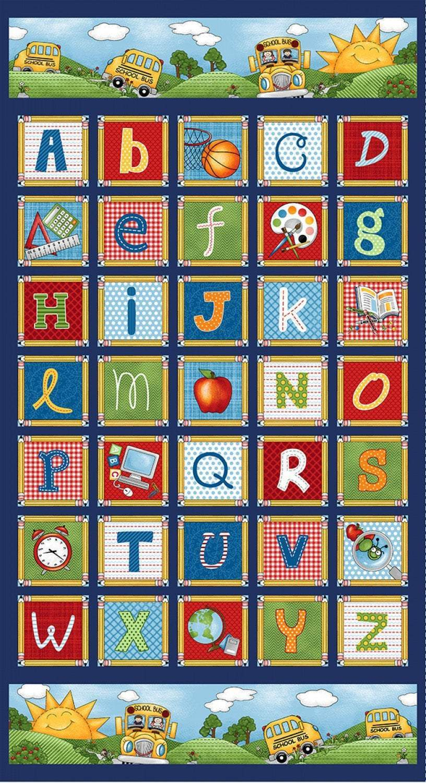 School Zone Children's Cotton Panel 24 x 44 Inches by Studio E