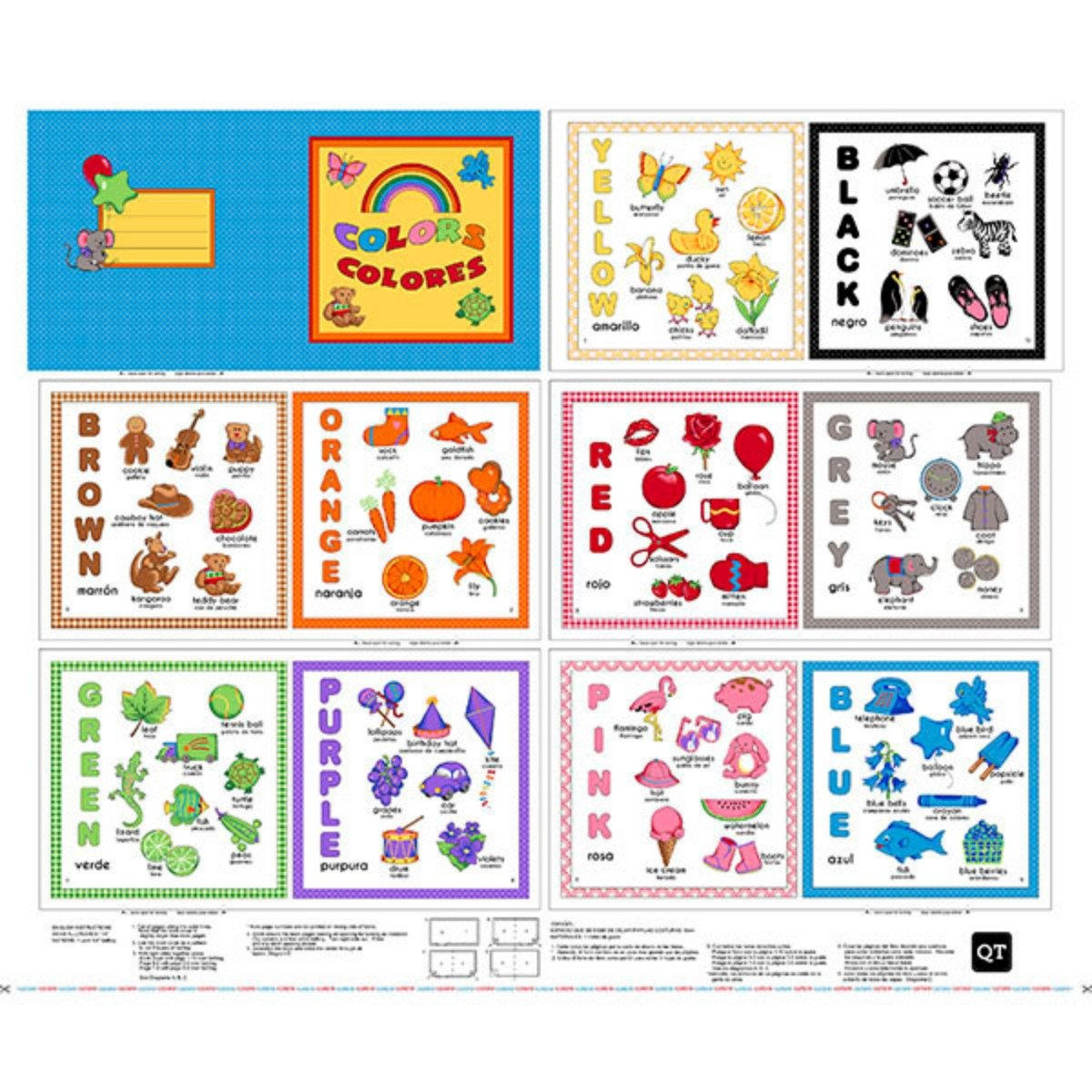 Sew & Go Children's Cloth Book Panels of Colors To Sew