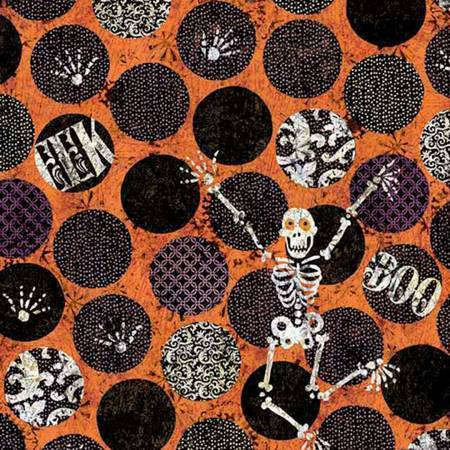 Skeleton Dot Halloween Fabric from Springs Creative 44-45 inches wide
