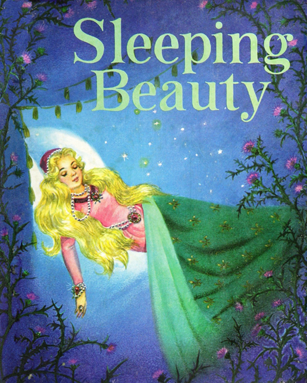 Sleeping Beauty Vintage Storybook Fabric Panel 36 x 44 Inches