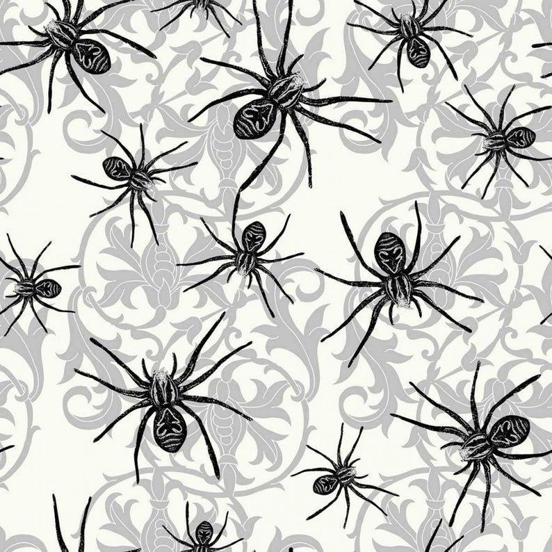 Sophisticated Spiders Cotton Halloween  Print 44 Inches Wide Springs Creative