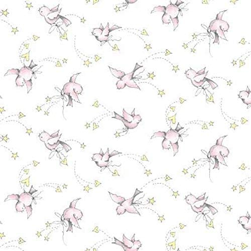 Sunny Days Children's Flannel Fabric Pink Baby Birds from P&B Textiles