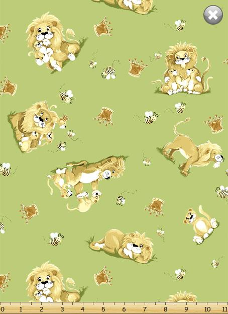 Susybee Children's Fabric Lyon The Lion Fabric Yardage
