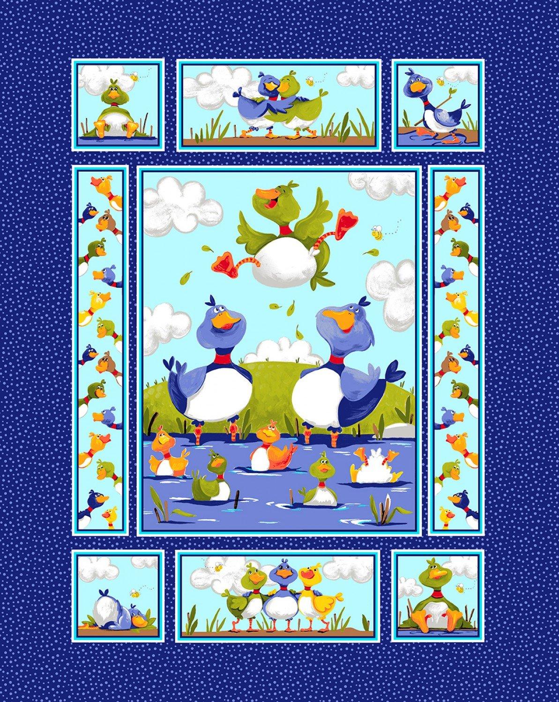 Susybee Fabric Blue Bill and Bob Best Buddies Cotton Panel 36 x 44