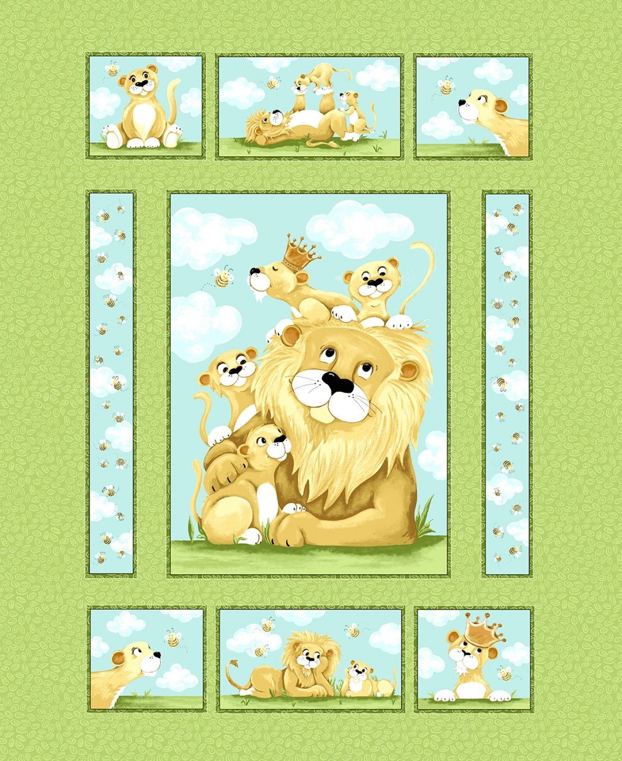 Susybee Lyon The Lion Fabric Panel 36 x 44 Inches from Susybee Fabrics