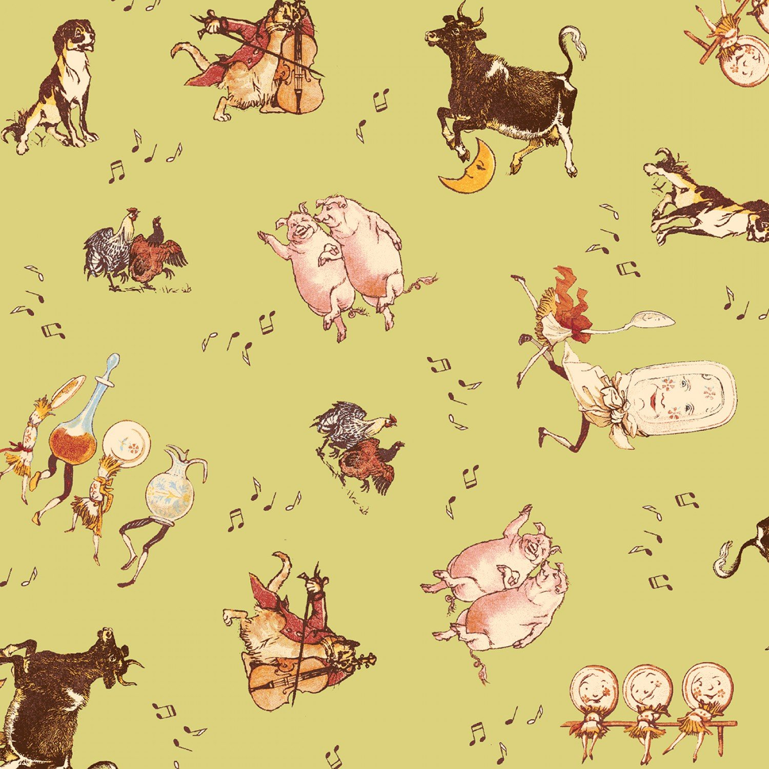 The Cat and The Fiddle The Dance Children's Fabric from Windham Fabric