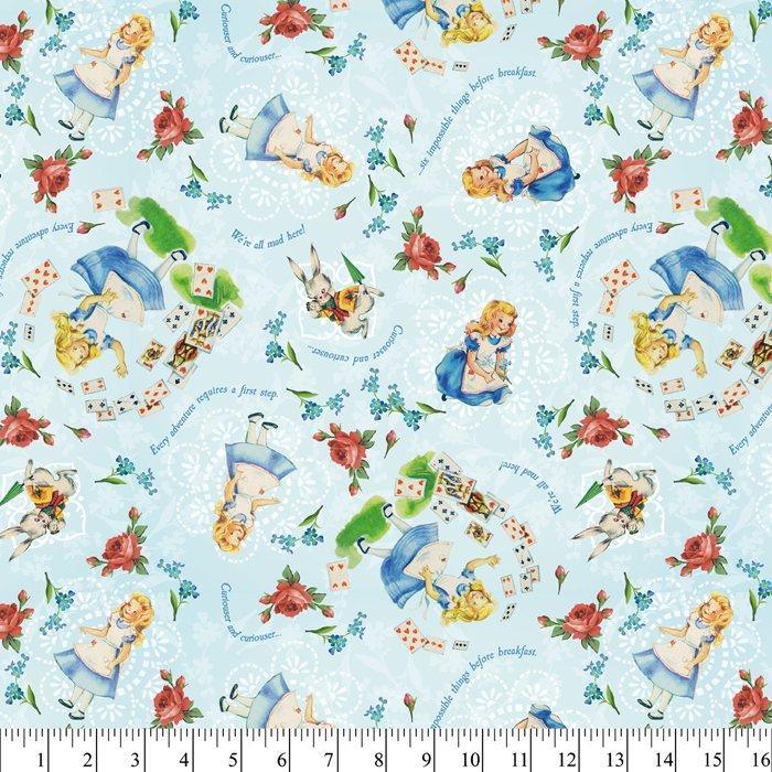 Vintage Alice In Wonderland Childrens Fabric Yardage 44-45 Inches Wide