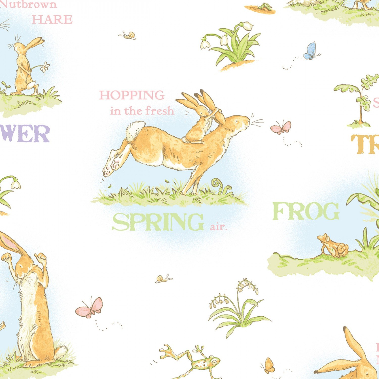 When I Am Big Children's Fabric White Toile
