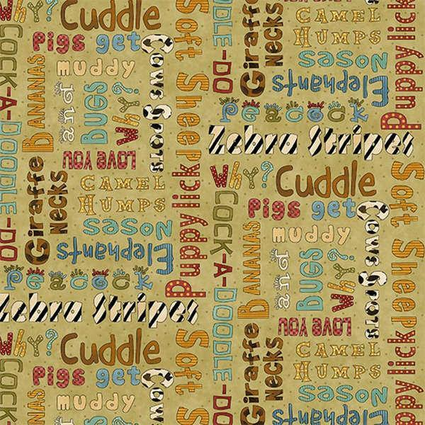 WHY CHILDREN'S FABRIC,  Green Multi Words from Leanne Anderson