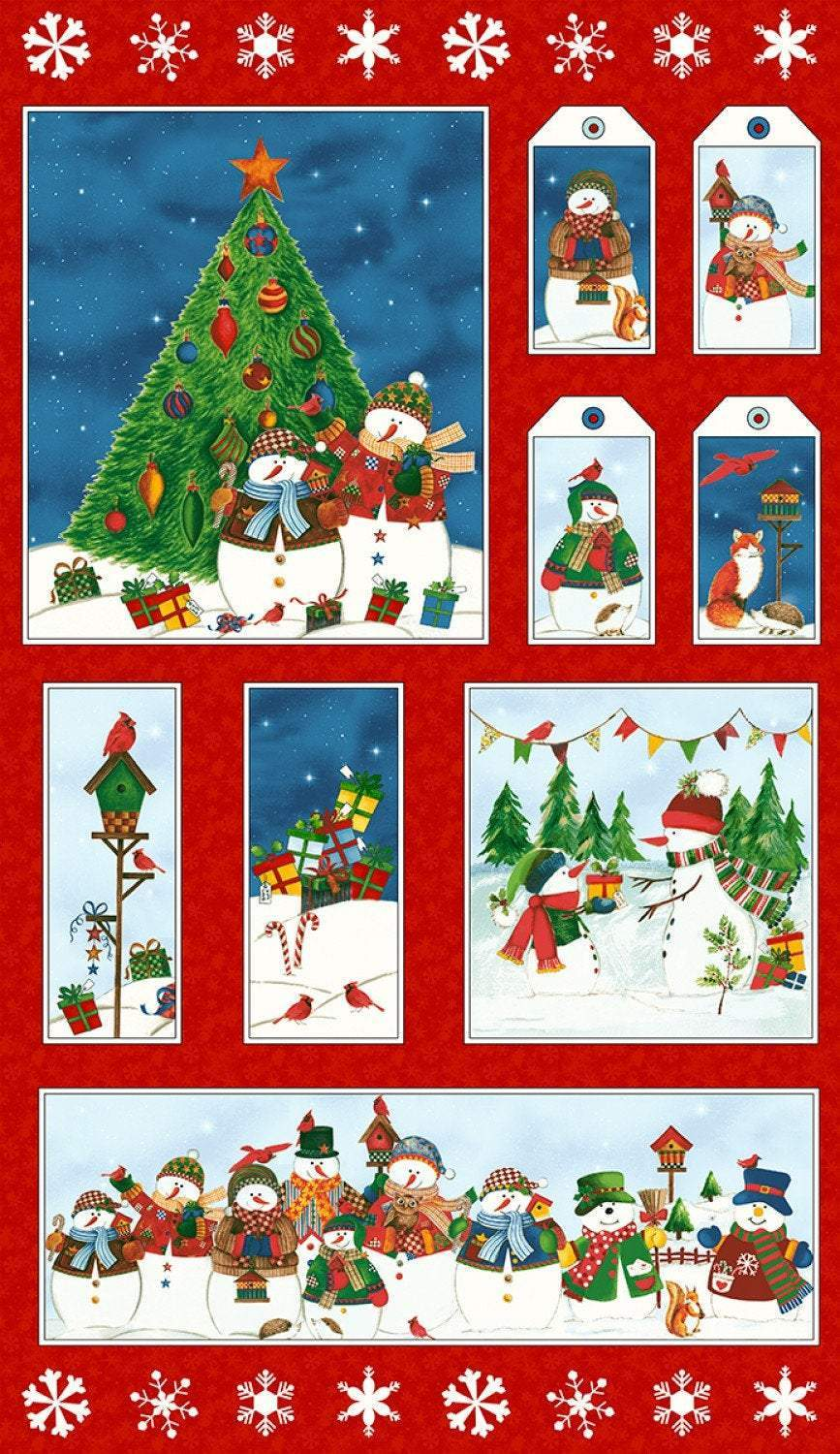 Winter Wishes Holiday Fabric Panel