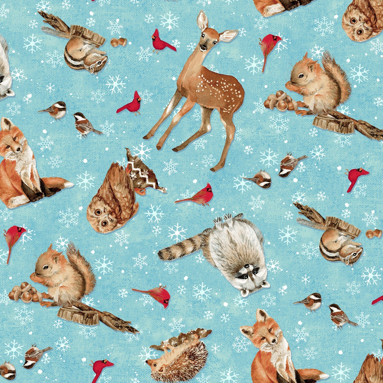 Winterwood Christmas Holiday Multi Animal Cotton Fabric Pre-Order
