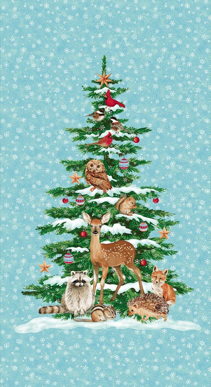 Winterwood Christmas Tree Fabric Panel 24 x 44 Inches Pre-Order