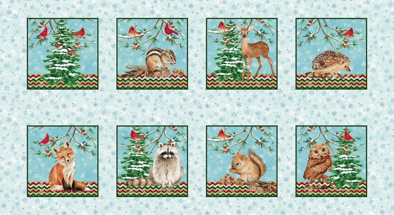 Winterwood Holiday Print Fabric Panel Woodland Animals Pre-Order